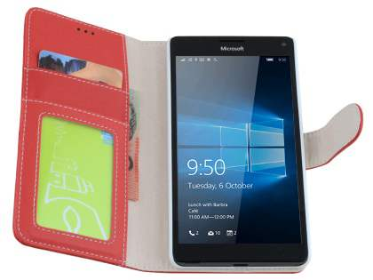 Slim Synthetic Leather Wallet Case with Stand for Microsoft Lumia 950 XL - Red