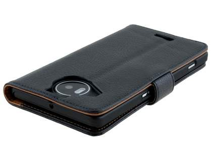 Slim Synthetic Leather Wallet Case with Stand for Microsoft Lumia 950 XL - Classic Black