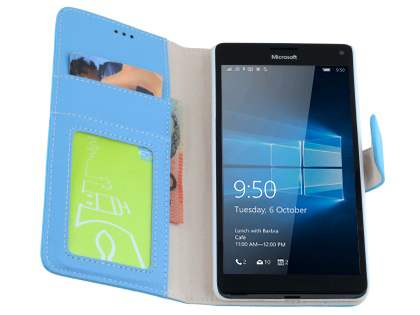 Slim Synthetic Leather Wallet Case with Stand for Microsoft Lumia 950 XL - Sky Blue