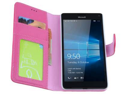 Slim Synthetic Leather Wallet Case with Stand for Microsoft Lumia 950 XL - Pink