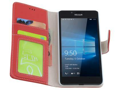 Slim Synthetic Leather Wallet Case with Stand for Microsoft Lumia 950  - Red