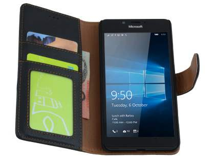 Slim Synthetic Leather Wallet Case with Stand for Microsoft Lumia 950 - Classic Black
