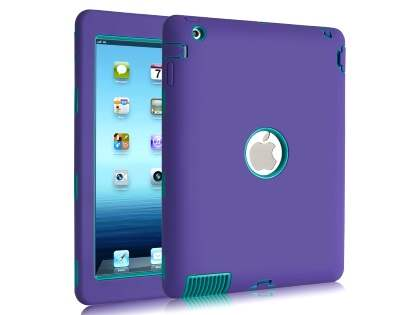 Rugged Impact Case for iPad 2/3/4 - Purple/Teal Impact Case