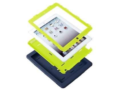 Rugged Impact Case for iPad 2/3/4 - Navy/Lime