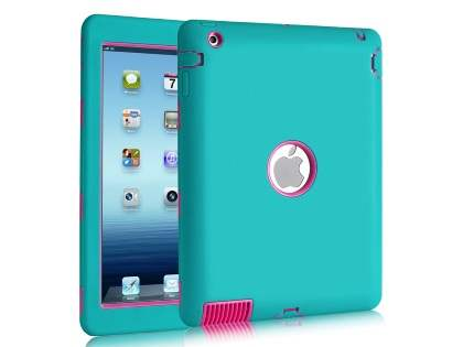 Rugged Impact Case for iPad 2/3/4 - Blue/Pink Impact Case