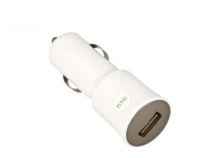 Genuine HTC CC C120 Car Charger Adaptor with USB Port - White Car Charger Adapter