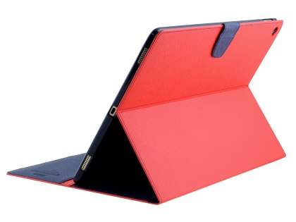 Mercury Colour Fancy Diary Case with Stand for iPad Pro 12.9 - Red/Navy Leather Flip Case