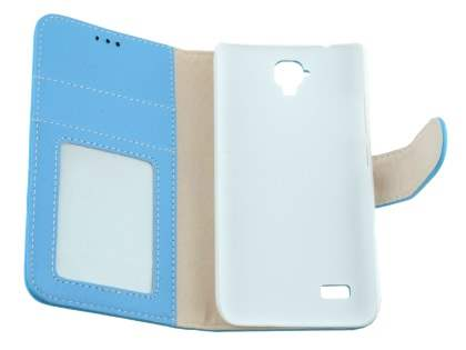 Synthetic Leather Wallet Case with Stand for Huawei Y5/Y560 - Sky Blue