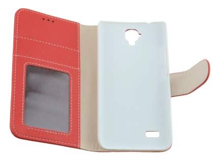 Synthetic Leather Wallet Case with Stand for Huawei Y5/Y560 - Red