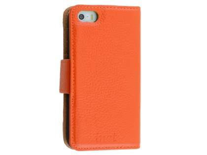 Synthetic Leather Wallet Case for Apple iPhone SE/5s/5  - Orange