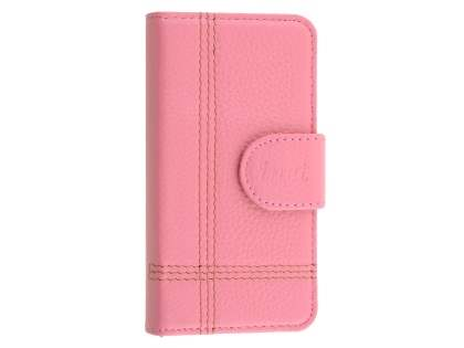 Synthetic Leather Wallet Case for iPhone SE/5s/5 - Pink Leather Wallet Case