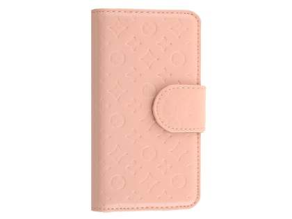 Synthetic Leather Wallet Case for Apple iPhone SE/5s/5 - Baby Pink