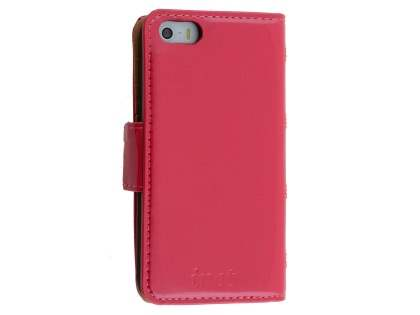 Synthetic Leather Wallet Case for Apple iPhone SE/5s/5  - Hot Pink