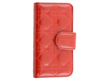 Synthetic Leather Wallet Case for iPhone SE/5s/5 - Coquelicot Leather Wallet Case