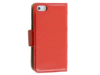 Synthetic Leather Wallet Case for Apple iPhone SE/5s/5  - Coquelicot