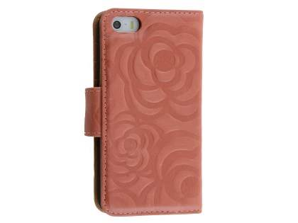 Synthetic Leather Wallet Case for iPhone SE/5s/5 - Terra Cotta