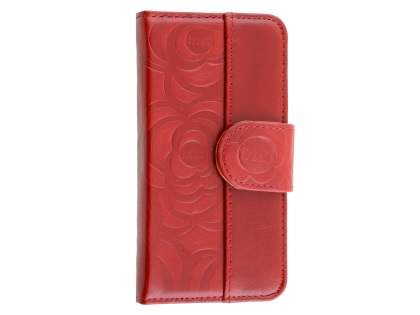 Synthetic Leather Wallet Case for iPhone SE/5s/5 - Red Leather Wallet Case
