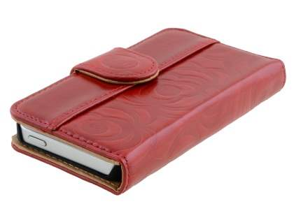 Synthetic Leather Wallet Case for Apple iPhone SE/5s/5  - Red