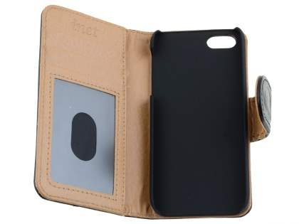 Synthetic Leather Wallet Case for iPhone SE/5s/5 - Black