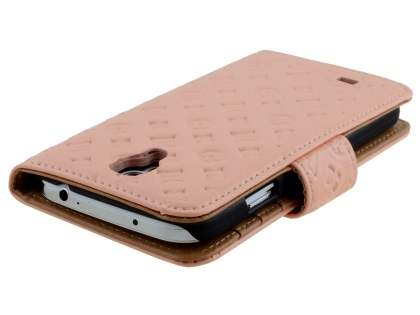 Synthetic Leather Wallet Case for Samsung Galaxy S4 - Pale Peach