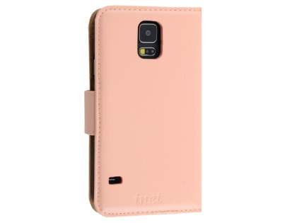 Synthetic Leather Wallet Case for Samsung Galaxy S5 - Baby Pink
