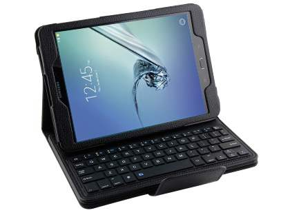 Synthetic Leather Bluetooth Keyboard Case for Samsung Galaxy Tab A 9.7 - Black Keyboard
