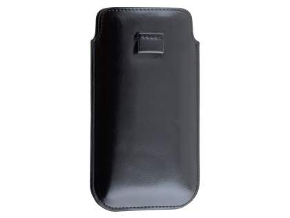 Synthetic Leather Slide-in Case with Pull-out Strap for Samsung Galaxy Note 4 - Classic Black Leather Slide-in Case