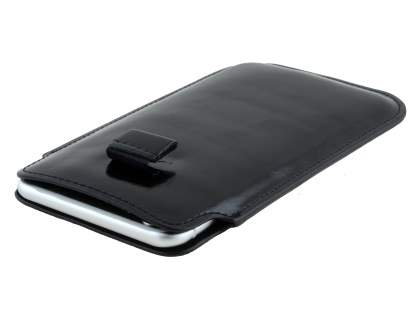 Synthetic Leather Slide-in Case with Pull-out Strap for Samsung Galaxy Note 4 - Classic Black