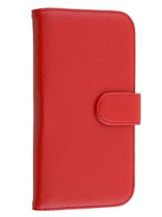 Synthetic Leather Wallet Case with Stand for Huawei Ascend G7 - Red