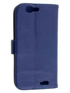 Huawei Ascend G7 Synthetic Leather Wallet Case with Stand - Dark Blue