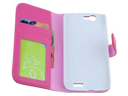 Huawei Ascend G7 Synthetic Leather Wallet Case with Stand - Pink