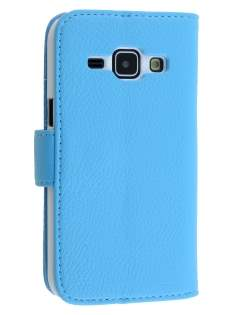 Synthetic Leather Wallet Case with Stand for Samsung Galaxy J1 (2015) - Sky Blue Leather Wallet Case