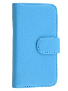 Synthetic Leather Wallet Case with Stand for Samsung Galaxy J1 (2015) - Sky Blue
