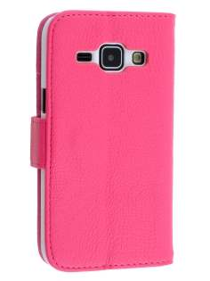 Synthetic Leather Wallet Case with Stand for Samsung Galaxy J1 (2015) - Pink Leather Wallet Case