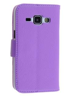 Synthetic Leather Wallet Case with Stand for Samsung Galaxy J1 (2015) - Purple Leather Wallet Case