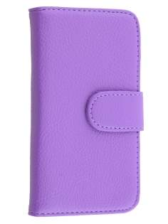 Samsung Galaxy J1 (2015) Synthetic Leather Wallet Case with Stand - Purple