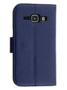 Synthetic Leather Wallet Case with Stand for Samsung Galaxy J1 Ace - Dark Blue Leather Wallet Case