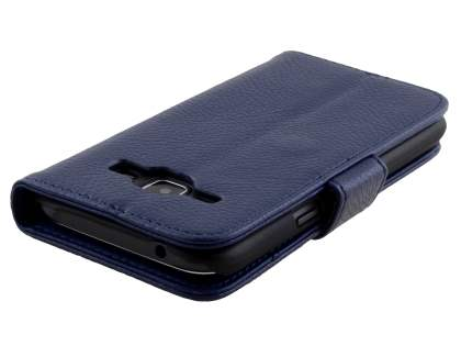 Synthetic Leather Wallet Case with Stand for Samsung Galaxy J1 Ace - Dark Blue