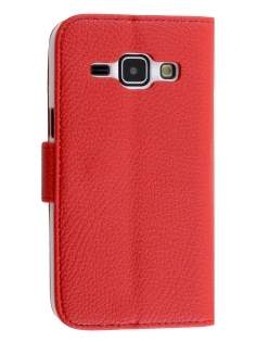 Synthetic Leather Wallet Case with Stand for Samsung Galaxy J1 Ace - Red Leather Wallet Case