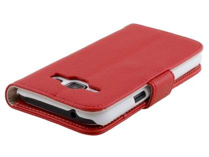 Synthetic Leather Wallet Case with Stand for Samsung Galaxy J1 Ace - Red