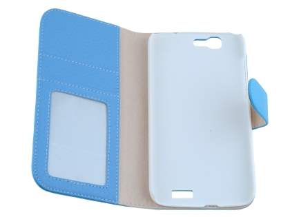 Huawei Ascend G7 Synthetic Leather Wallet Case with Stand - Sky Blue
