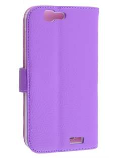 Synthetic Leather Wallet Case with Stand for Huawei Ascend G7 - Purple