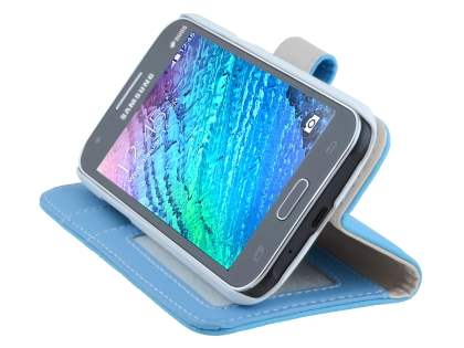 Synthetic Leather Wallet Case with Stand for Samsung Galaxy J1 Ace - Sky Blue