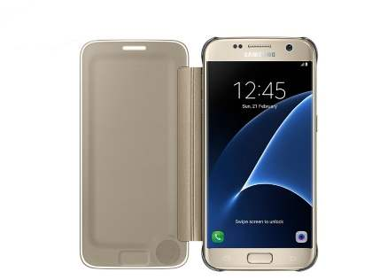 Genuine Samsung Galaxy S7 Clear View Cover - Clear Gold