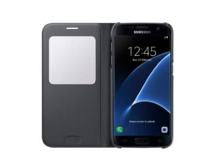 Genuine Samsung Galaxy S7 S-View Premium Cover Case - Charcoal