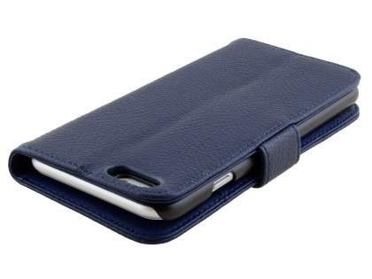 Synthetic Leather Wallet Case with Stand for iPhone 6s Plus/6 Plus - Dark Blue