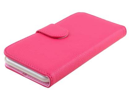 Synthetic Leather Wallet Case with Stand for iPhone 6s Plus / 6 Plus - Hot Pink