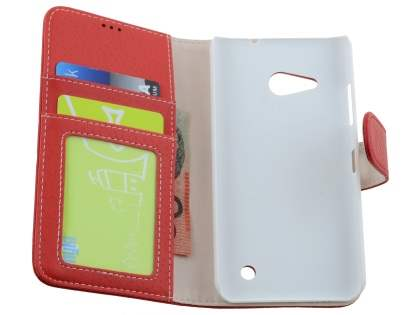 Slim Synthetic Leather Wallet Case with Stand for Microsoft Lumia 550 - Red