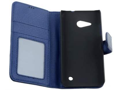 Slim Synthetic Leather Wallet Case with Stand for Microsoft Lumia 550 - Dark Blue