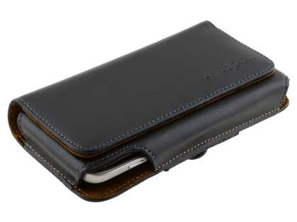 Extra-tough Genuine Leather ShineColours belt pouch for HTC One M9 - Classic Black